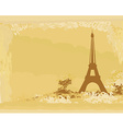 vintage retro Eiffel in Paris card vector image vector image