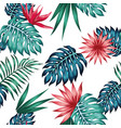 vivid tropical leaves flowers seamless white vector image vector image