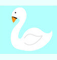 white swan on water flat vector image vector image