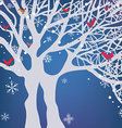 Winter Christmas background with tree snow and vector image vector image