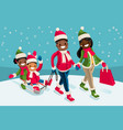 winter family vacations isometric people black vector image