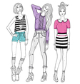 Young fashion girls vector image