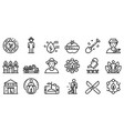 agronomist icons set outline style vector image vector image