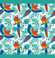 ara parrot seamless pattern tropical fabric design vector image
