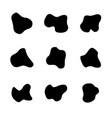 black spots different curve shapes set fluid vector image