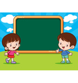 Boy and Girl with blank board vector image vector image