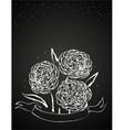 chalk flowers on blackboard vector image vector image