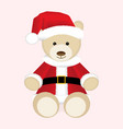 Christmas teddy bear in red Santa hat and jacket vector image