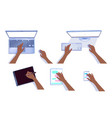 collection hands with computers vector image