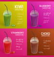 collection smoothie or cocktail recipes vector image