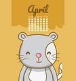 cute cat calendar cartoon vector image