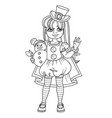 cute girl in carnival costume snowman in top hat vector image vector image