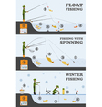Fishing infographic Float fishing spinning winter vector image vector image