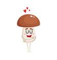 funny porcini mushroom character hugging itself vector image vector image