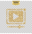 Gold glitter icon of video player isolated vector image