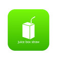 juice box straw icon green vector image vector image