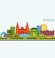 kochi india city skyline with color buildings and vector image vector image