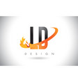 ld l d letter logo with fire flames design and vector image vector image
