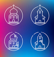 linear churches icons for print or web design vector image