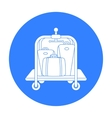 Luggage cart icon in black style isolated on white vector image vector image