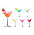 martini cocktail glasses set vector image