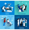 Medical specialists 4 flat icons square vector image vector image