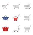 metal cart icons set cartoon style vector image vector image