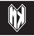 mk logo monogram with emblem line style isolated vector image vector image