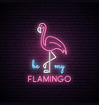 neon silhouette of pink flamingo vector image