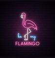 neon silhouette of pink flamingo vector image