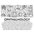 ophthalmology banner with eyesight check up linear vector image