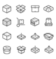 Package line thin icons set Boxes crates vector image vector image