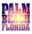 pam beach florida text with evening sunset vector image