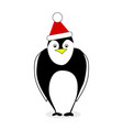 penguin in red hat santa claus isolated on white vector image vector image