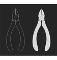Pliers nippers clip art chalkboard vector image