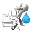 plumbing repair with tools vector image vector image