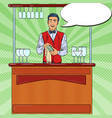 pop art barista wiping glass in nightclub bar vector image vector image