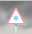 road sign with snowflake vector image