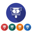 round icon of atm cash withdrawal flat style vector image vector image