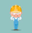 scared panic shock cute builder engeneer mascot vector image vector image