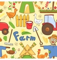 seamless pattern farm elements in doodle style vector image vector image