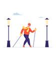 senior lady walking with scandinavian sticks vector image vector image
