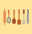 set kitchen utensils cooking tools flat vector image vector image