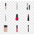 set of maquillage realistic symbols with nail vector image vector image