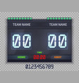 soccer european football scoreboard with match vector image