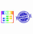 spectrum pixel february calendar icon and vector image vector image