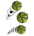 Spiteful tennis ball cartoon character vector image vector image