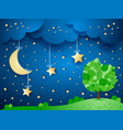 surreal background with moon and tree vector image vector image