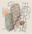 trendy abstract faces background