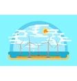 wind generators sea flat ground vector image
